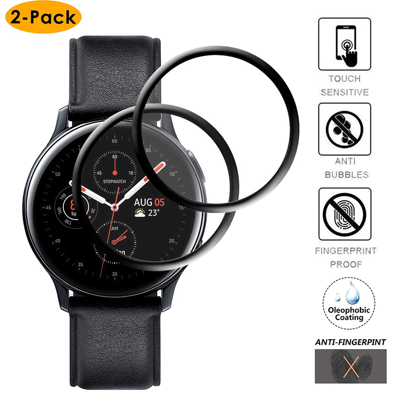 3D Full Screen Protector Film For Samsung Galaxy Watch Active 2 40mm 44mm HD Anti-Bubble Soft Round Edge Screen Protector Cover