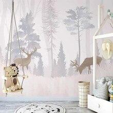 Personalizado mural papel de parede 3d pintados à mão floresta alce quarto das crianças ao ar livre arte criativa moderna decoração da sua casa sala