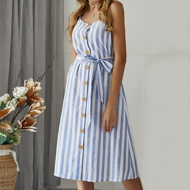 Summer <font><b>Dress</b></font> <font><b>Womens</b></font> Holiday Striped Ladies Summer Beach Buttons Party <font><b>Dress</b></font> Fashion <font><b>Sexy</b></font> Spaghetti Starp <font><b>BLUE</b></font> <font><b>PINK</b></font> YELLOW <font><b>Dress</b></font> image