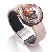 Flashbuy Rhinestone Wide Leather Bangles for Women Alloy Charms Crystal Female Multilayer Bracelets Female Wholesale Bracelet flashbuy rhinestone wide leather bangles for women rhinestone wave pattern female multilayer bracelets female wholesale bracelet
