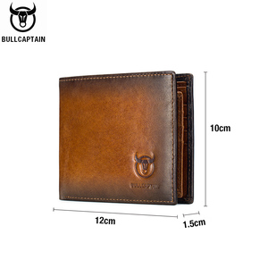 Image 5 - BULLCAPTAIN RFID shielding Mens leather wallet double fold slim wallet multi card card package ID bag