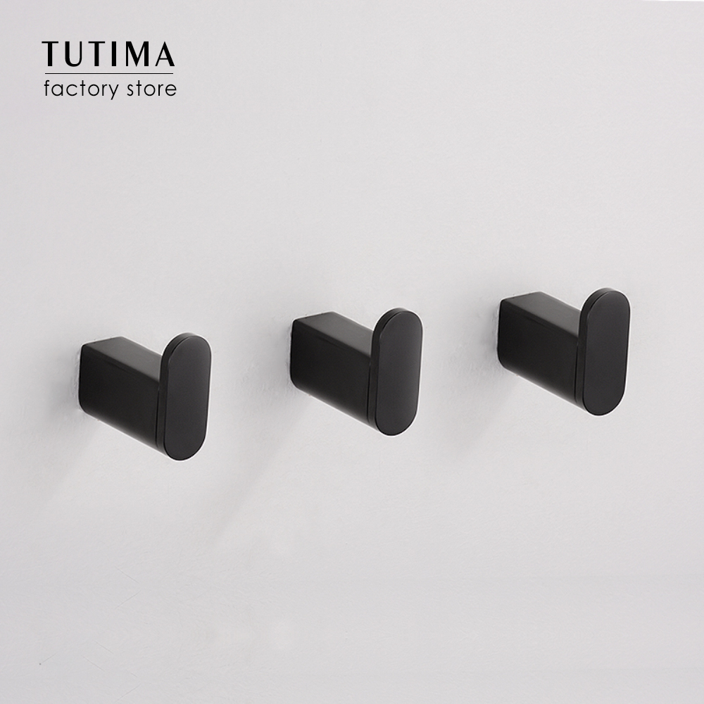 Tutima Robe Hook Wall Mounted Bathroom Towel Hook Black SUS9 Modern Coat  Hooks Hanger Single Decorative Bag Key Hat Clothes Ra