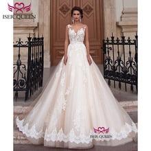 סקסי אונליין תחרה חתונה שמלת רומנטי Robe De Mariage vestido דה noiva Sheer צוואר אשליה אלגנטי חתונת שמלות W0047
