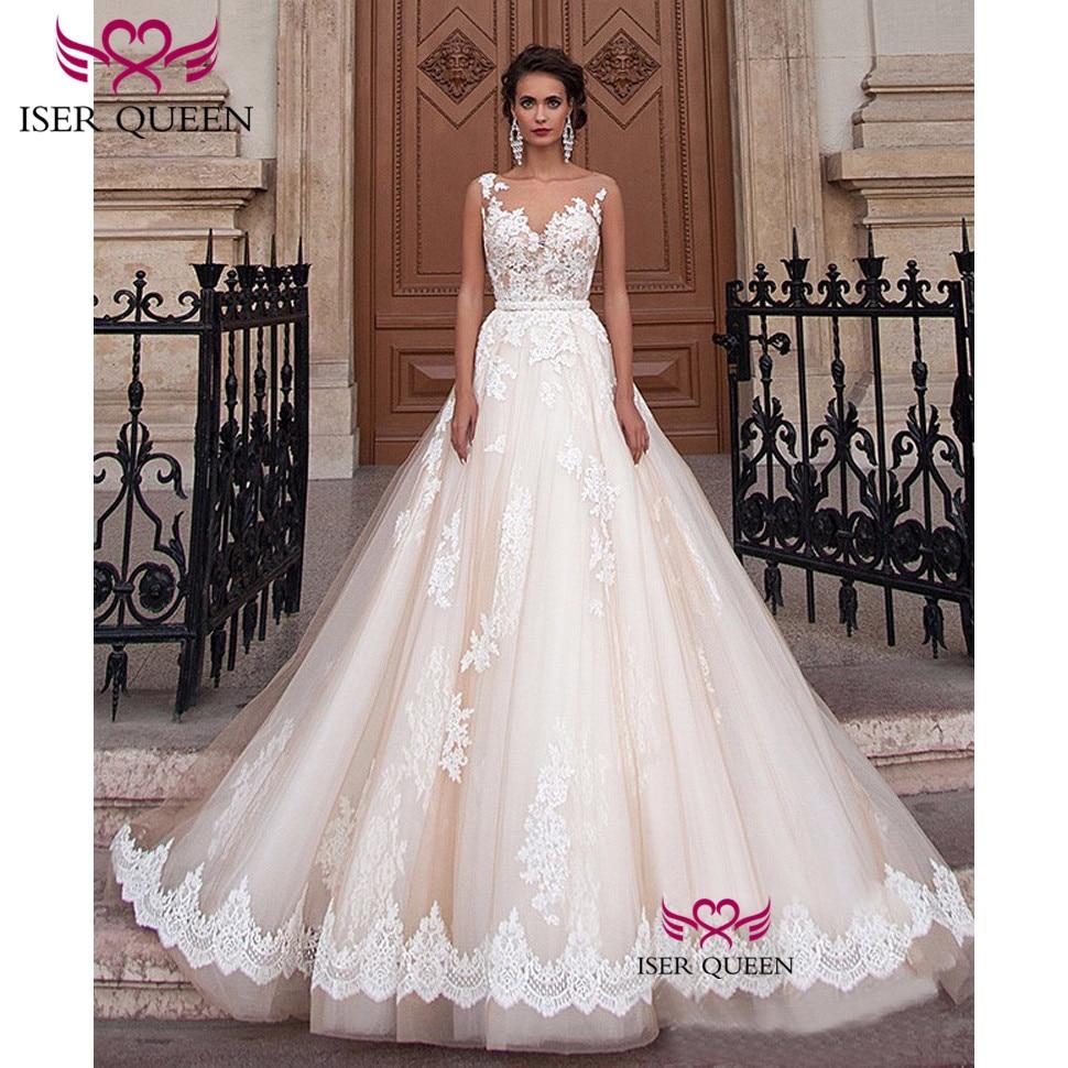 Sexy A-Line Lace Wedding Dress 2019 Romantic Robe De Mariage Vestido De Noiva Sheer Neck Illusion Elegant Wedding Dresses W0047