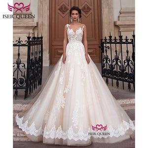 Image 1 - Sexy A Line Lace Wedding Dress  Romantic Robe De Mariage vestido de noiva Sheer Neck Illusion elegant Wedding Dresses W0047