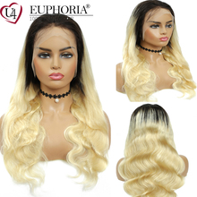 Lace-Wigs Lace-Frontal EUPHORIA Blonde Human-Hair Body-Wave Ombre Brazilian 13x4 613