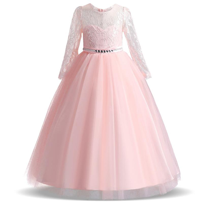 2019 Long Sleeve Teenager Formal Prom Kids Dresses For Girls Princess Dress Party Wedding Dress 14 10 12 Year Vestido