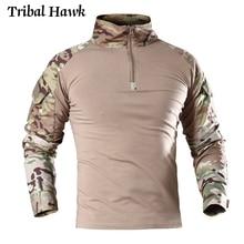 מרובה צבאי חולצות גברים טקטי Airsoft הסוואה חולצות אחיד צבא Combat פיינטבול בגדים ארוך שרוול למעלה טי