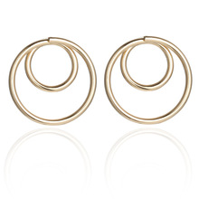 the new earrings personality metal geometry size circle stud female temperament contracted joker