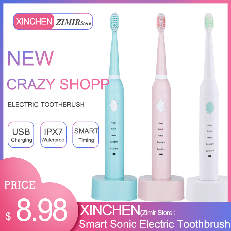XINCHEN USB Charging Tooth Brushes 5-Speed Adjustment Sonic Vibration Waterproof Adult Whitening Electric Toothbrush
