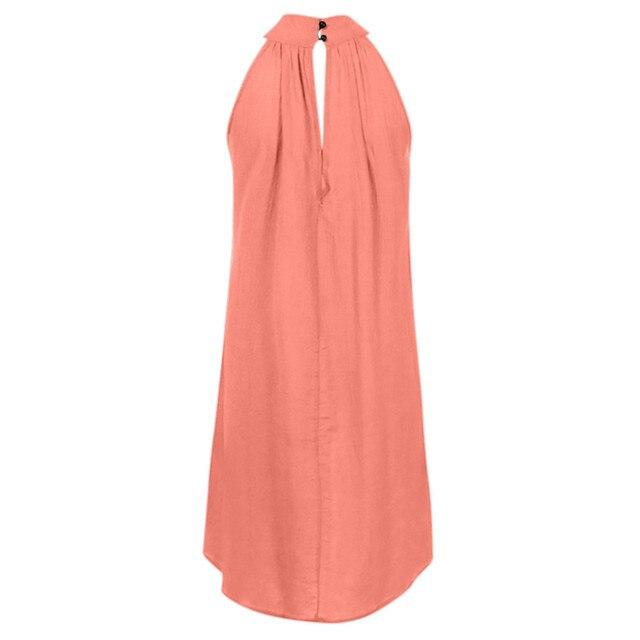 Turtleneck Dress Above Knee Solid Color Irregular Dress Ladies Summer Beach Style Sleeveless Party Sundress Loose Bohemian Robe 4