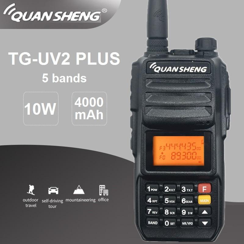 10W 4000mAh Quansheng TG-UV2 PLUS Walkie Talkie HF Transceiver VHF UHF Ham Radio Comunicador 5 Bands Police 350-390MHz Tg Uv2