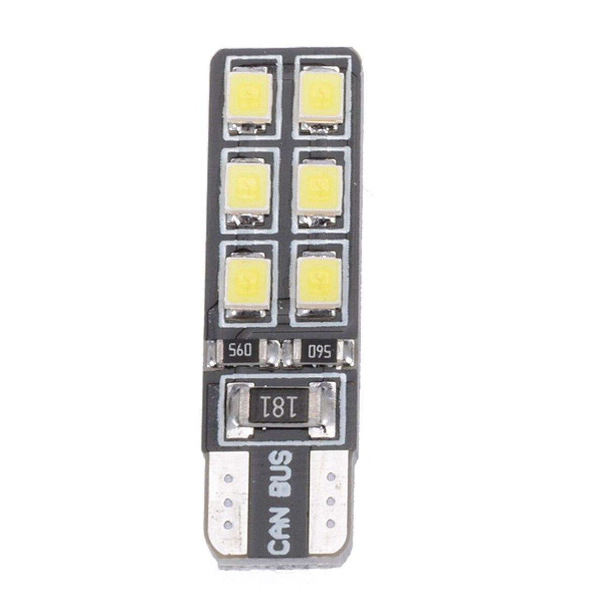 6Pcs T10 194 168 2835 12LED Canbus Error Free Side Marker Light Map Bulbs White
