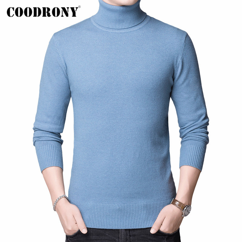 COODRONY Brand Sweater Men Autumn Winter Thick Warm Turtleneck Pull Homme Pure Color Knitwear Cashmere Wool Pullover Men 91115