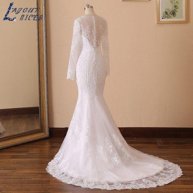 LAYOUT NICEB Mermaid Wedding Dress 2021 Illusion Back Vestido De Noiva Long Sleeve Beads O Neck Lace Appliques Bride Bridal Gown 4