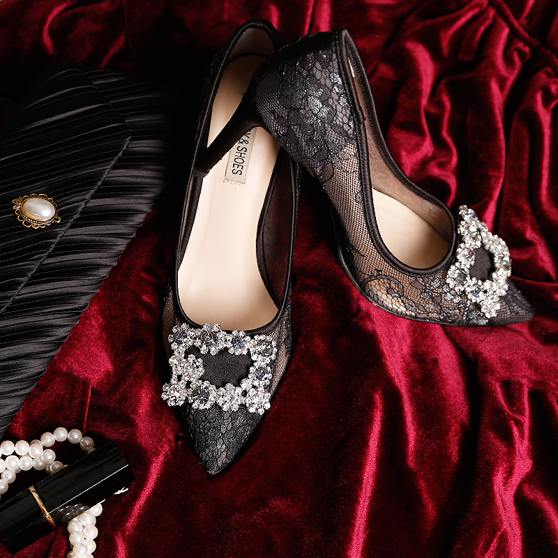 Celebrity Frankrijk Luxe Black Lace Mesh Vierkante Gem Bling Parels Hoge Hak Avondfeest Dames Bruidsmeisjes Sexy Jurk Schoenen