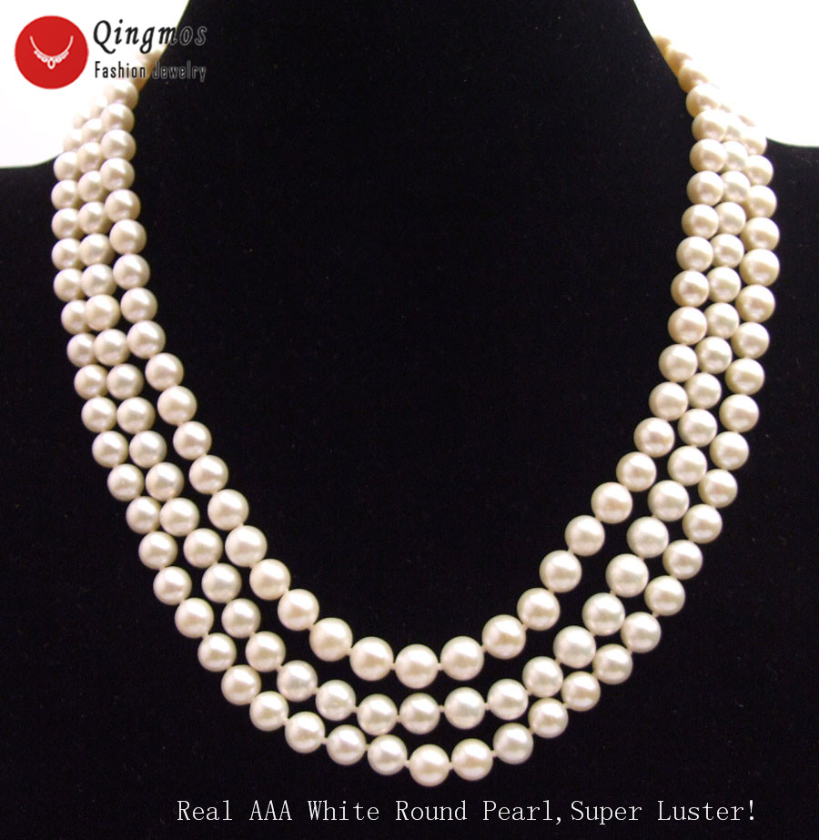 3row 19/'/' 7mm white golden pink freshwater pearl necklace