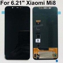 """6.21 """"orijinal test en iyi OLED XIAOMI Mi 8 için ekran Mi8 LCD dokunmatik ekran Digitizer değiştirme 2248x1080 + araçları + çift bantlar"""