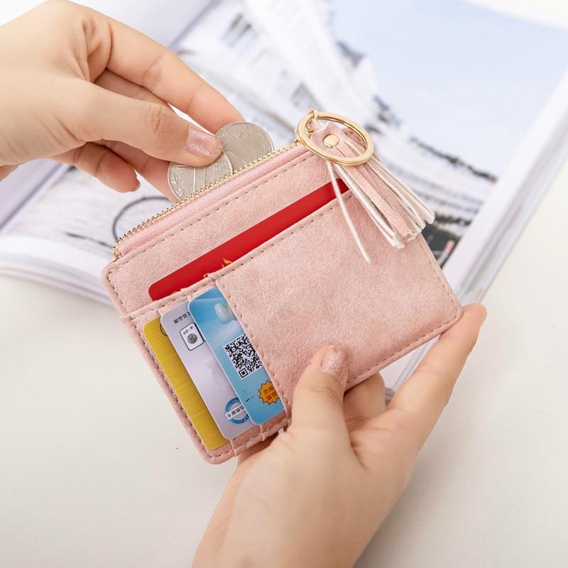 New Woman Wallet Matt Leather Mini Tassel Thin Card Holders Cute Credit ID Card Zipper Case Change Coin Keychain Purse Tarjetero