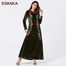 Siskakia Women Dresses Solid Velvet Embroidered Maxi Long Dress Elegant Round Neck Long Sleeve Autumn Clothes 2019 Army Green