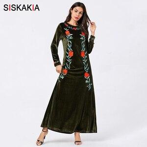 Image 1 - Siskakia vestidos femininos de veludo sólido bordado maxi vestido longo elegante em torno do pescoço manga comprida roupas outono 2019 verde do exército