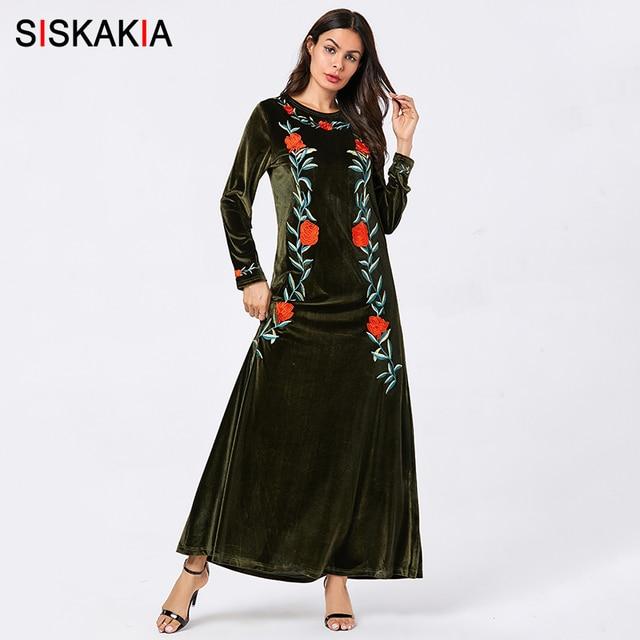 Siskakia vestidos femininos de veludo sólido bordado maxi vestido longo elegante em torno do pescoço manga comprida roupas outono 2019 verde do exército