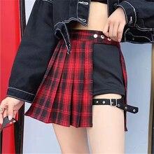 All Match Women Short Skirt Fashion Tartan Red Pleated Skirts Streatwear Plaid Side Button Skirt Womens Casual Mini Skirt