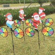 3D большой Санта Клаус на велосипеде ветряная мельница ветряная вертушка Вихрь дворовый садовый декор 95AE