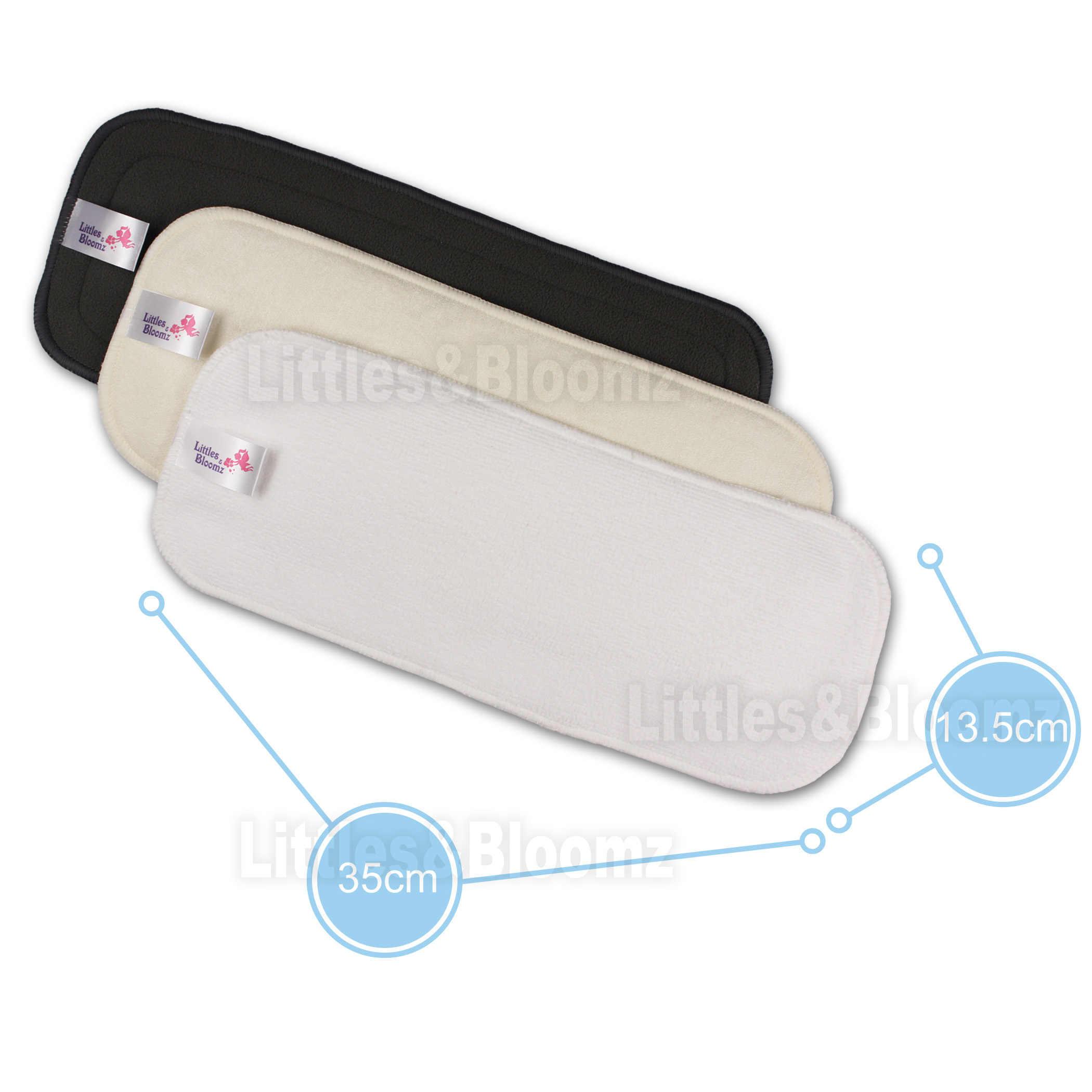 [Littles & Bloomz], 10 Uds., insertos lavables reutilizables, forros de refuerzo para bolsillo, pañal de tela, microfibra, inserto de carbón de bambú