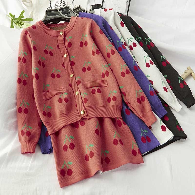 NiceMix Fashion Designer Cherry Embroidery Knitted 2 Piece Set Women Golden Single-Breasted Cardigan Jackets Coat+Mini Skirts Se