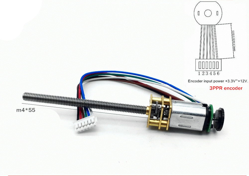 M4*55mm <font><b>N20</b></font> screw shaft DC gear motor 3V 6V 12V Magnetic <font><b>Encoder</b></font> DIY Miniature small Screw DIY smart model robot door lock motor image