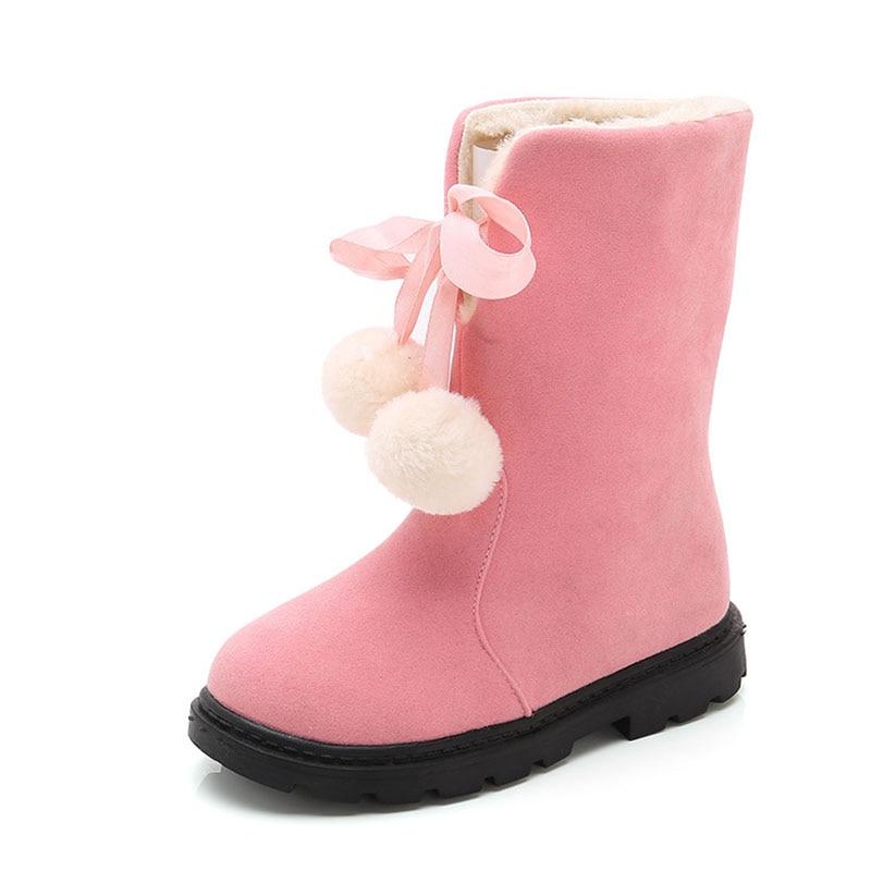 COZULMA Kids Warm Plush Lining Mid-calf Boots Girls Fashion Fur Ball Decoration Snow Boots Children Winter Shoes Size 26-37