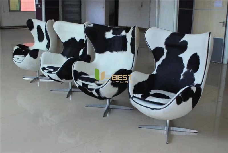 Black+white pony leather egg chair replica chair  (5)