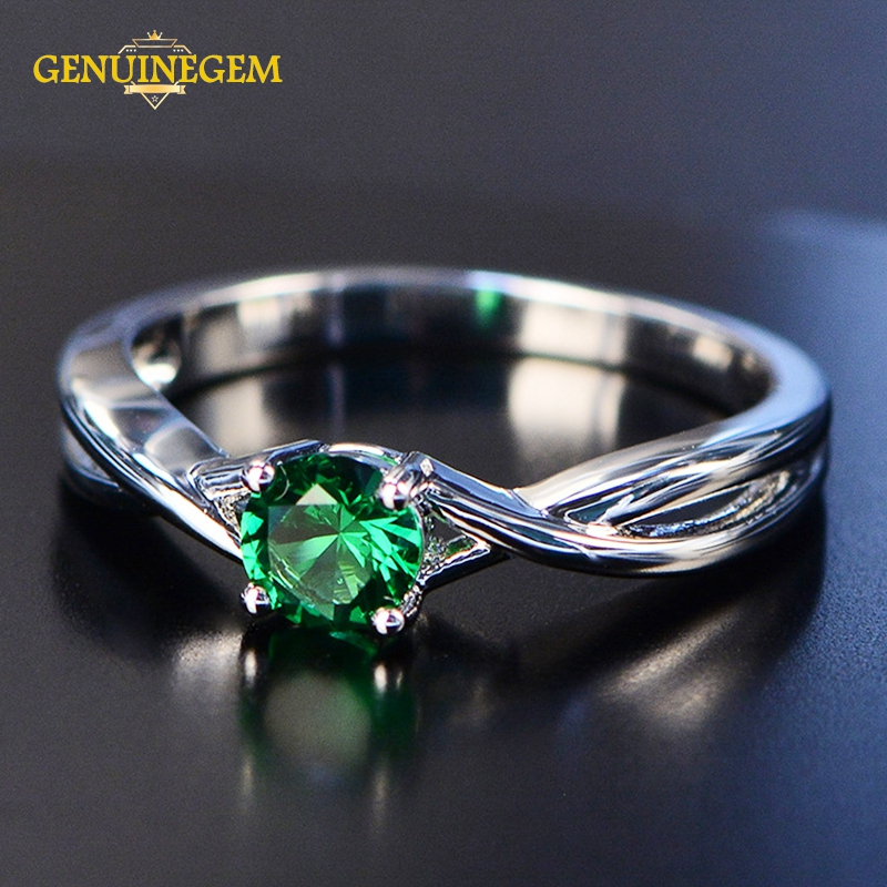 GENUINEGEM Brand 5MM Round Emerald Sapphire Gemstone Rings For Women Pure 100% 925 Sterling Silver Wedding Ring Fine Jewelry
