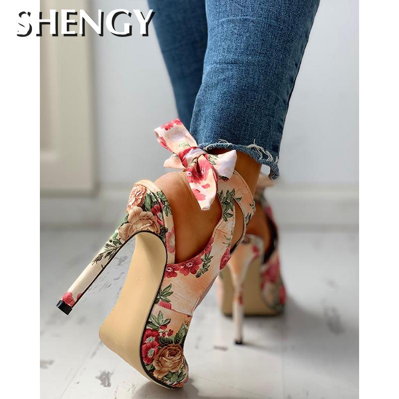 2020 New Women summer Thin High Heels embroidered Peep Toe gladiator pumps office sandals party shoes