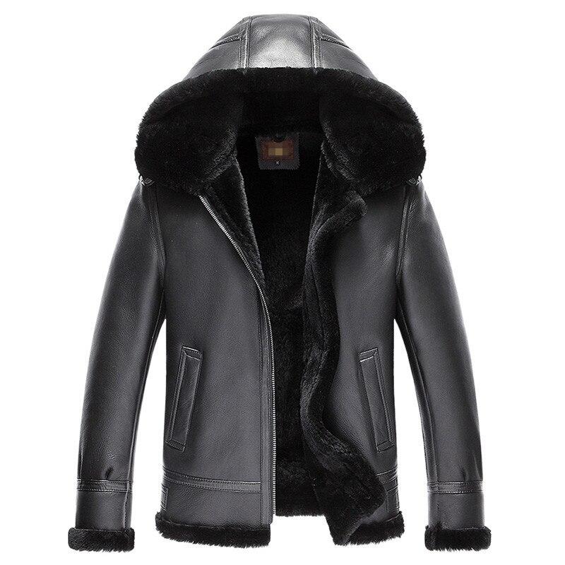 Genuine Leather Jacket Men Double-faced Fur Coat 2020 Winter Bomber Jacket Natural Fur Coats Jaqueta De Couro 7009 ZL375