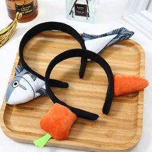 Engraçado deslocamento cenoura hairband salgado peixe vestindo bandana lavagem rosto faixa de cabelo rosto turbante