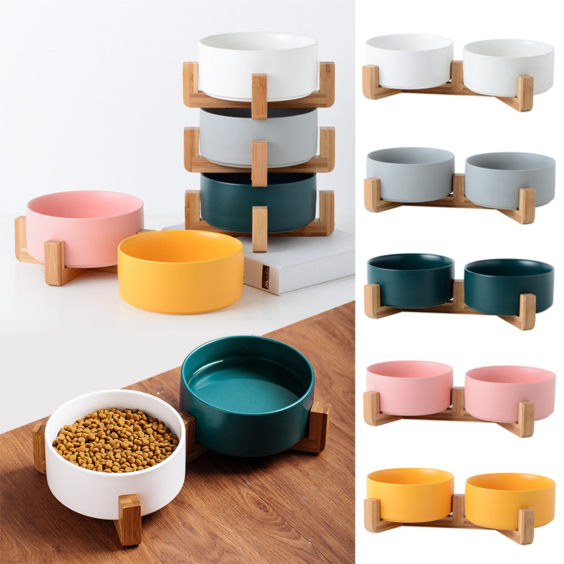 Ceramic Pet Bowl Cat Puppy Feeding Supplies Double Pet Bowls Dog Food Water Feeder Dog Accessories Durable multiple color option