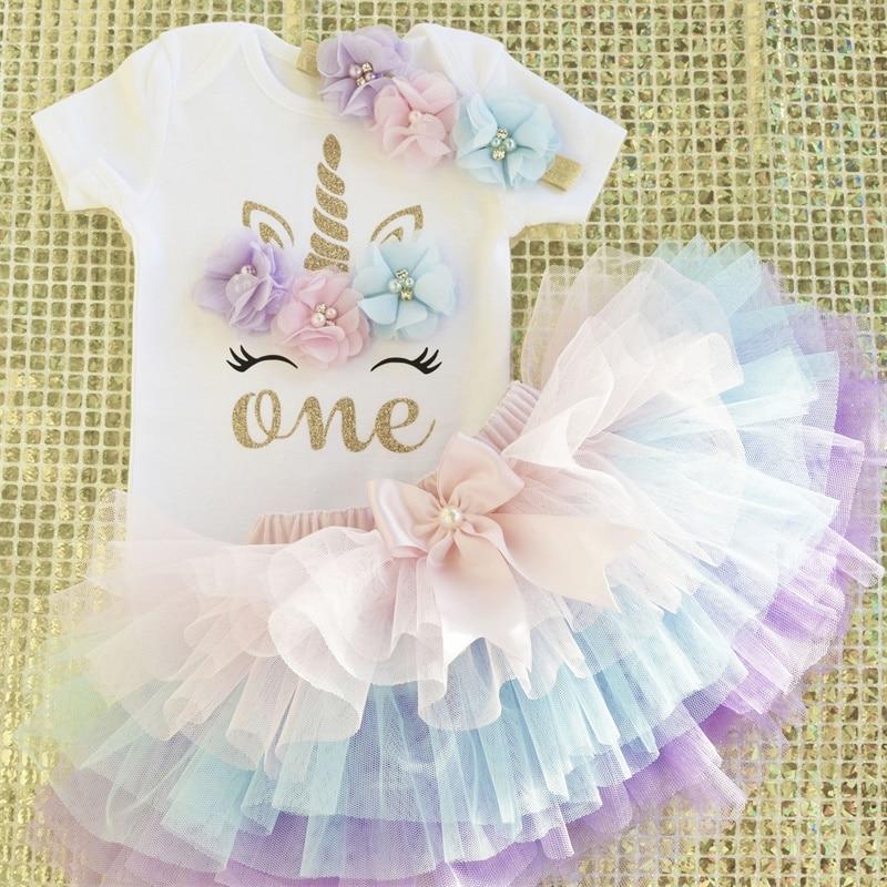 1 Year Girl Baby Birthday Unicorn Dress Flower Newborn Princess Costume 12Months Christening Gown Cake Smash Outfits