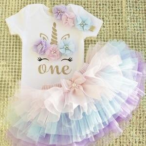 1 Year Girl Baby Birthday Unicorn Dress Flower Newborn Princess Costume 12Months Christening Gown Cake Smash Outfits(China)