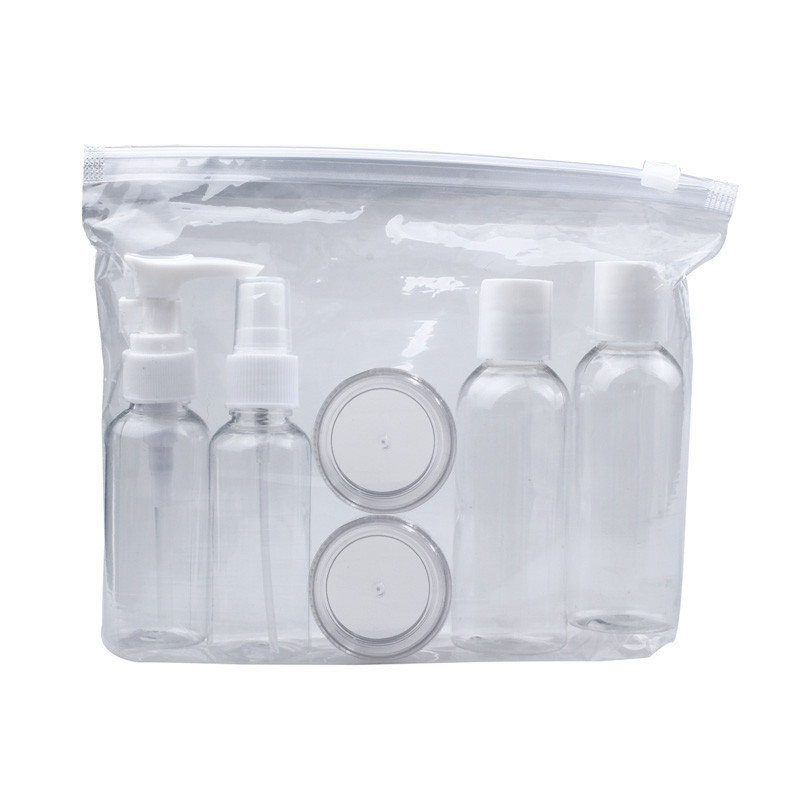6Pcs/Set Mini Plastic Transparent Small Empty Spray Cream Bottles For Travel Make Up Skin Care Refillable Travel Accessories