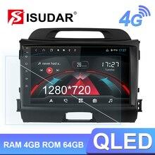Isudar Radio Multimedia H53 con GPS para coche, Radio con reproductor, Android, 1 Din, 4GB RAM, 64GB ROM, USB, DVR, cámara, DSP, Octa Core, para KIA/Sportage