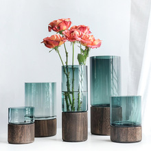 Soild Wood Base Glass Vase Luxury Living Room Decoration Figurines Wedding Beside Plants Holder Crafts Gift Flower Pot