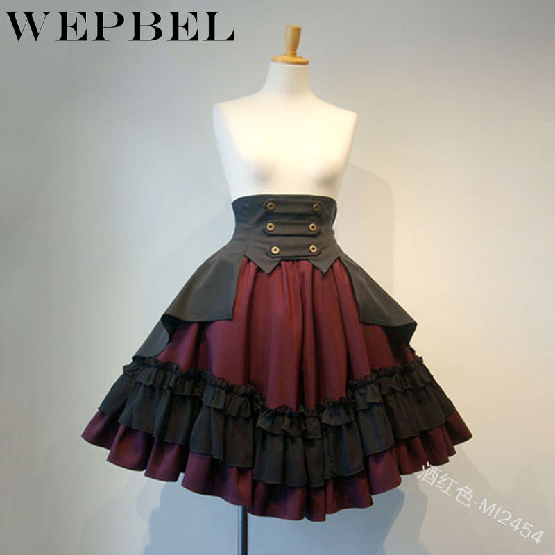 WEPBEL Costumes Steampunk Gothic Skirt Women Clothing High Low Ruffle Party Lolita Medieval Victorian Gothic Punk Skirt