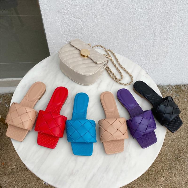2020 New Brand Slippers Weave Leather Women Sandal Open Toe Flat Casual Slides Summer Outdoor Beach Female Flip Flops