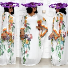 African Dresses For Women New Chiffon Big Sleeve Dress Maxi Long Floral Vestidos With Elastic Long Inner Africa Clothing