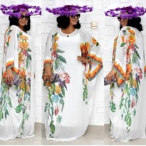 Image 1 - Vestidos africanos para as mulheres novo chiffon vestido de manga grande maxi longo floral vestidos com elástico longo interior áfrica roupas