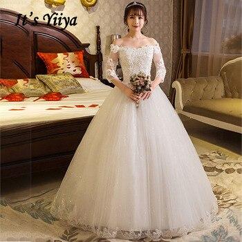 Plus Size Wedding Gowns It's Yiiya AR691 Elegant Sequined Lace Wedding Dresses Boat Neck Bridal Dress 2020 Vestidos De Novia