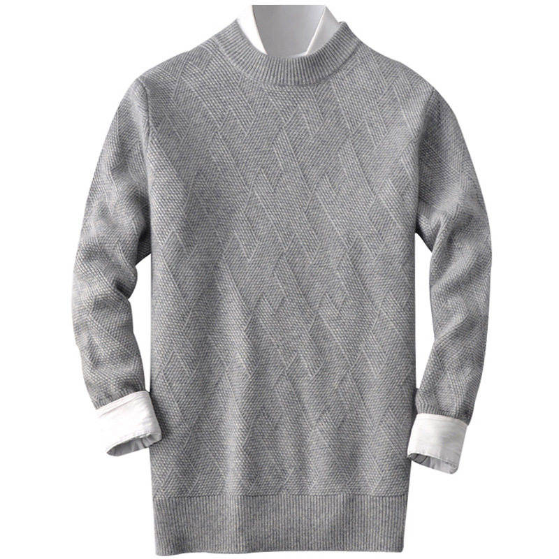 Autumn and winter new cashmere sweater men's round neck thickened Pullover Sweater loose men's cardigan bottomed sweater