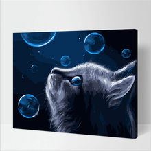 Blue cat canvas for home wall decor art drawing 40x50cm diy